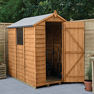 Forest Garden 6 x 4 ft Small Apex Overlap Dip Treated Garden Shed with Assembly