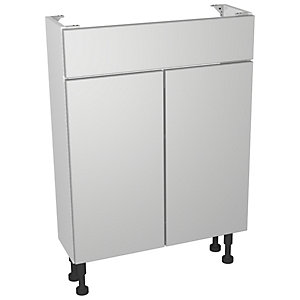 Wickes Vienna Grey Gloss Compact Floorstanding Vanity Unit - 600 x 735mm