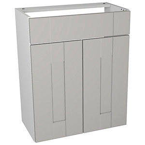 Wickes Vermont Grey On White Floorstanding Vanity Unit - 600 x 735mm