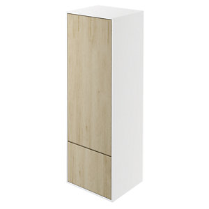 Wickes Eli White Matt & Oak Wall Hung Tall Tower Unit - 400 mm