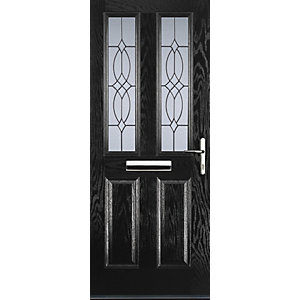 Euramax 2 Panel 2 Square Black Left Hand Composite Door