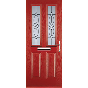 Euramax 2 Panel 2 Square Red Left Hand Composite Door