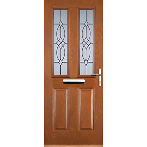 Euramax 2 Panel 2 Square Oak Left Hand Composite Door