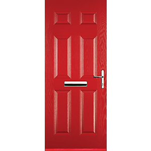 Euramax 6 Panel Red Left Hand Composite Door