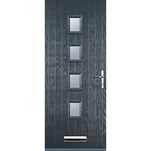 Euramax 4 Square Grey Left Hand Composite Door