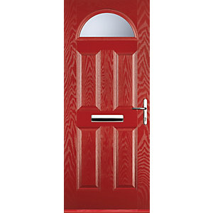 Euramax 4 Panel 1 Arch Red Left Hand Composite Door