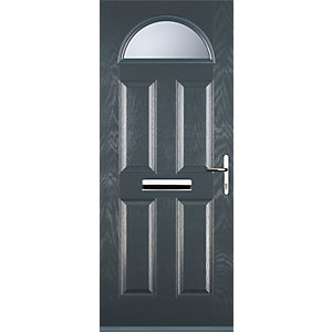 Euramax 4 Panel 1 Arch Grey Left Hand Composite Door
