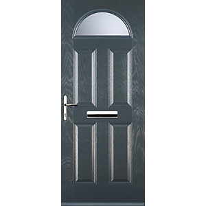 Euramax 4 Panel 1 Arch Grey Right Hand Composite Door