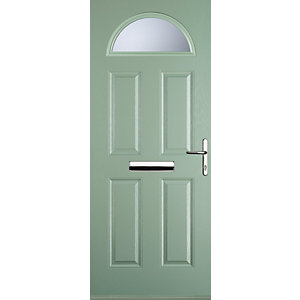 Euramax 4 Panel 1 Arch Chartwell Green Left Hand Composite Door