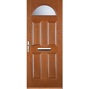 Euramax 4 Panel 1 Arch Oak Right Hand Composite Door