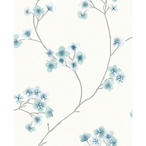 Superfresco Easy Radiance Teal and White Decorative Wallpaper - 10m