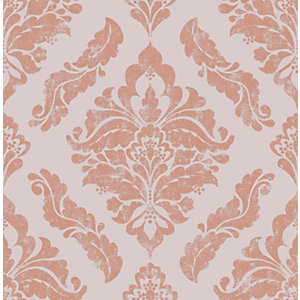 Boutique Damaris Rose Gold Decorative Wallpaper - 10m