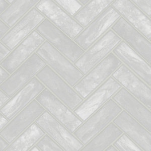 Contour Lustro Silver Decorative Wallpaper -10m