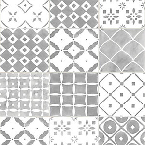 Contour Porches Grey Decorative Wallpaper - 10m