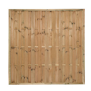 Forest Garden Pressure Treated Vertical Hit & Miss Fence Panel - 6 x 6ft Pack of 4