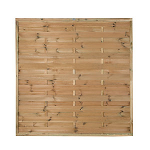 Forest Garden Pressure Treated Horizontal Hit & Miss Fence Panel - 6 x 6ft Pack of 3