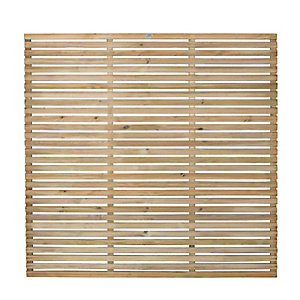Forest 6 x 6ft Contemporary Single Slatted Fence Panel - Pack of 4