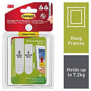 Command Picture Hanging Strips - White Pack of 8 Large & 4 Medium