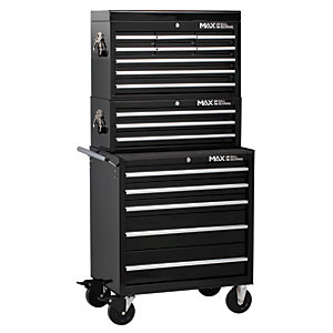 Hilka Professional 17 Drawer Tool Chest and Trolley Combination Unit - Black