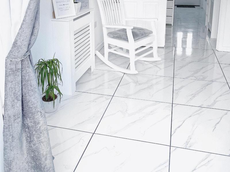 Wickes Calacatta Gloss White Marble Effect Glazed Porcelain Wall & Floor Tile 605 x 605mm