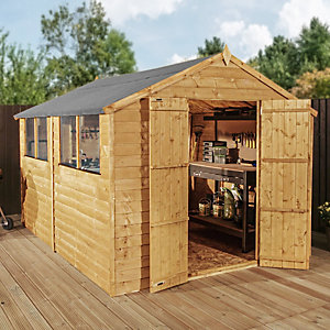Mercia 10 x 8 ft Double Door Timber Overlap Apex Shed