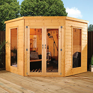 Mercia 8 x 8 ft Contemporary Corner Summerhouse with Glazed Double Doors