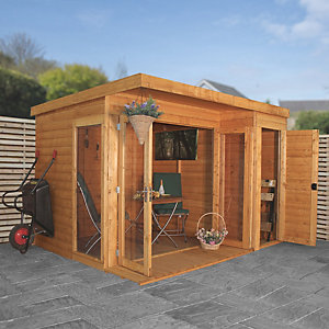 Mercia 10 x 8 ft Large Room Garden Office with Side Shed & Bi-Fold Doors
