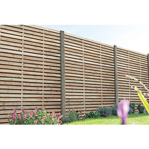 Forest Garden Contemporary Double Slatted Fence Panel - 6ft x 6ft