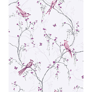 Superfresco Easy Songbird Lilac Decorative Wallpaper - 10m