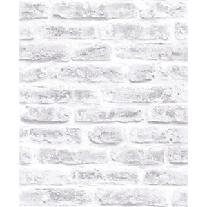 Superfresco Easy Brick White Decorative Wallpaper - 10m
