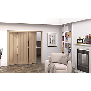 Jeld-Wen Geneva Oak Cottage 5 Panel Internal Bi-Fold 3 Door Set - 2047mm x 1929mm