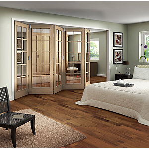 Jeld-Wen Fully Glazed Oak 10 Lite Internal Bi-Fold 5 Door Set - 2047mm x 3158mm