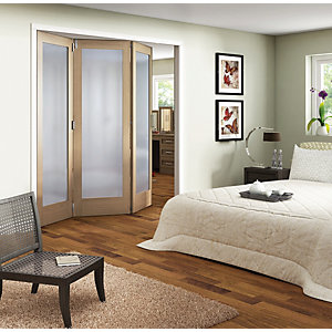 Jeld-Wen Oxford Fully Glazed Oak 1 Lite Internal Bi-Fold 3 Door Set - 2047mm x 1929mm