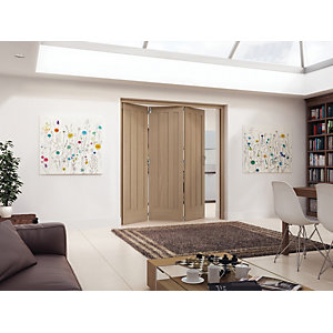Jeld-Wen York Oak 3 Panel Internal Bi-Fold 3 Door Set - 2047mm x 1929mm