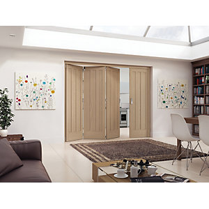 Jeld-Wen York Oak 3 Panel Internal Bi-Fold 3 Door Set - 2047mm x 2545mm