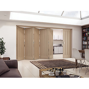 Jeld-Wen York Oak 3 Panel Internal Bi-Fold 6 Door Set - 2047mm x 3771mm