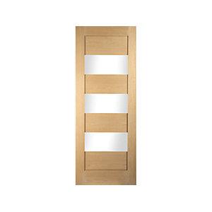 Jeld-Wen Horizontal 3 Lite Clear Glazed Oak Internal Door - 1981 x 610mm
