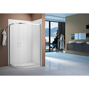 Nexa By Merlyn 6mm Chrome Offset Quadrant Double Sliding Door Shower Enclosure - 1200 x 900mm