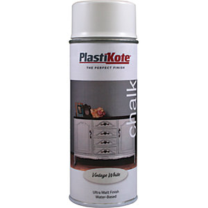 Plastikote Chalk Finish Spray Paint - Vintage White 400ml