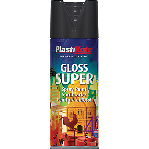 Plastikote Super Spray Paint - Gloss Black 400ml