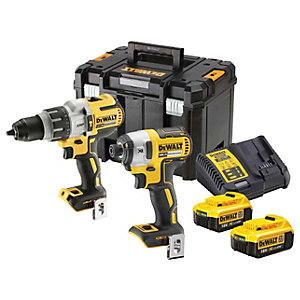 DEWALT DCK276P2-GB 18V XR 2 X 5.0Ah Brushless Cordless Combi And Impact Drill Set