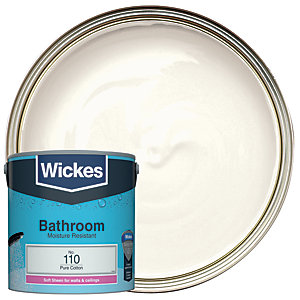 Wickes Pure Cotton - No. 110 Bathroom Soft Sheen Emulsion Paint - 2.5L