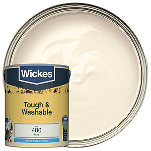 Wickes Ivory - No. 400 Tough & Washable Matt Emulsion Paint - 5L