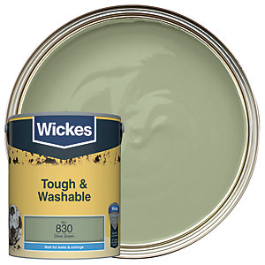Wickes Olive Green - No. 830 Tough & Washable Matt Emulsion Paint - 5L