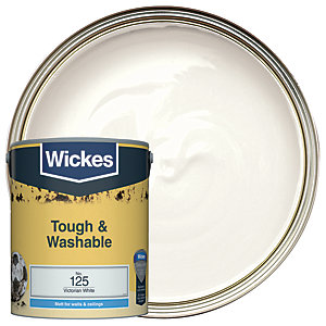 Wickes Victorian White - No. 125 Tough & Washable Matt Emulsion Paint - 5L