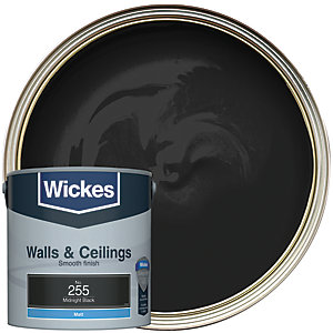 Wickes Midnight Black - No. 255 Vinyl Matt Emulsion Paint - 2.5L