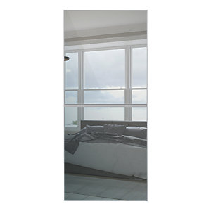 Spacepro Minimalist Sliding Wardrobe Door 2 Panel Silver Frame - Mirror
