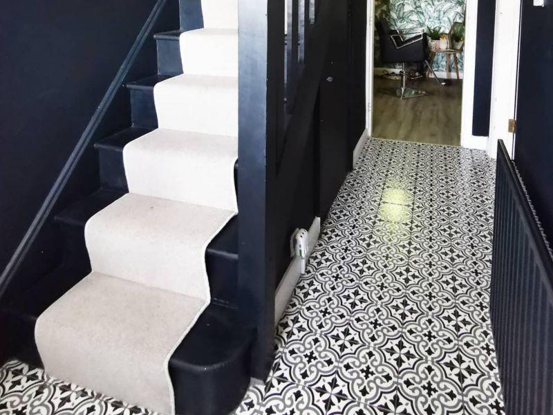Melia Charcoal Patterned Ceramic Tile