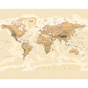 ohpopsi Sepia World Map Wall Mural