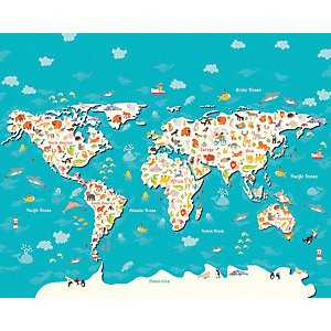 ohpopsi Animals Of The World Map Wall Mural